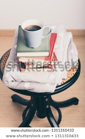 Az kitaplar fincan kahve sandalye ahşap Stok fotoğraf © przemekklos