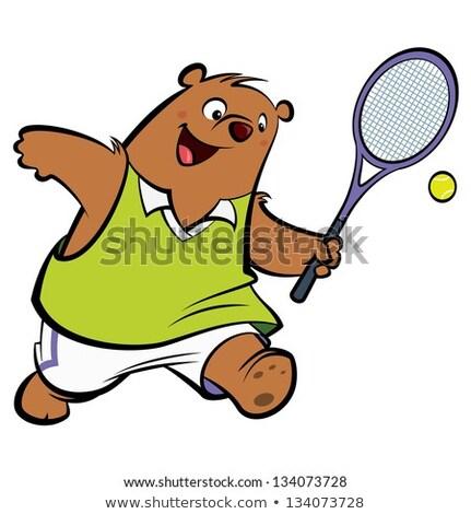 rajz · medve · játszik · tenisz · illusztráció · fitnessz - stock fotó © bennerdesign