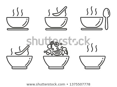 Soup icon flat Stock photo © smoki