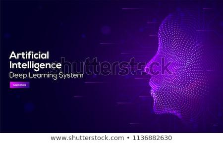 Inteligência artificial aterrissagem página grande cérebro circuito Foto stock © RAStudio