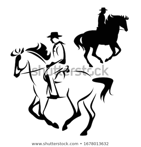 Horse rider silhouette, side view simple black icon Stock photo © evgeny89