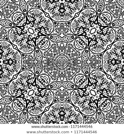 Monochrome Mandala Motive indian unendlich Stock foto © lissantee