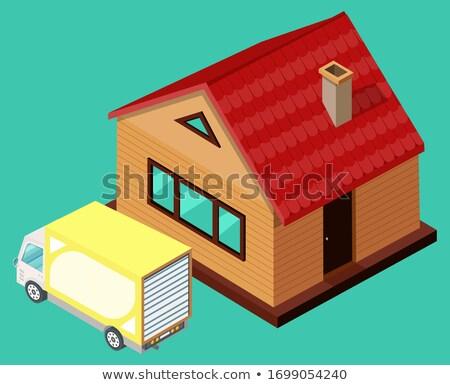 желтый грузовик Постоянный дома вектора доставки Сток-фото © robuart
