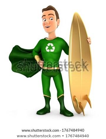 3D 緑 英雄 立って サーフボード ストックフォト © 3dmask