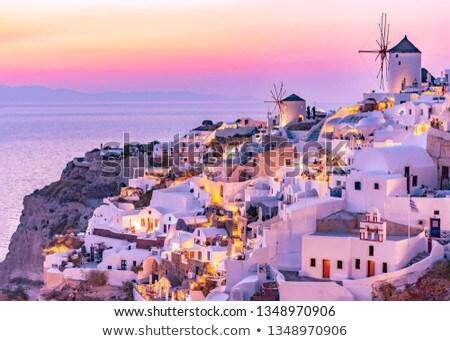 windmill of Oia at sunset, Santorini Stock photo © neirfy