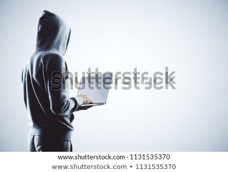 Mysterieus hacker online aanval veiligheid schild Stockfoto © ra2studio