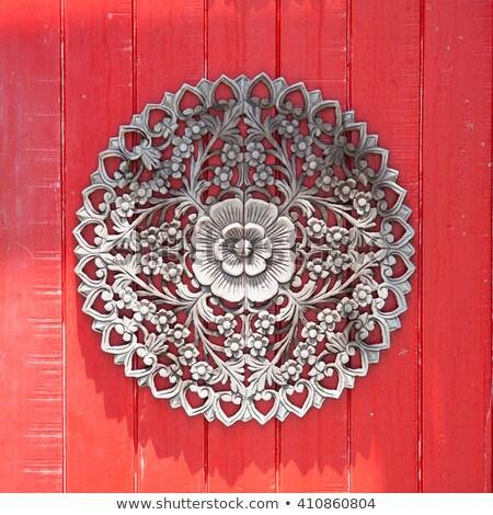 Mooie houten deur oude bruin huis Stockfoto © goir