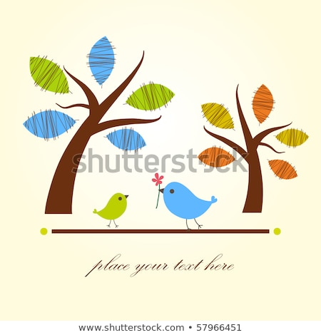 Greeting Card With Two Birds Under Flowers Vector Stock fotó © mcherevan