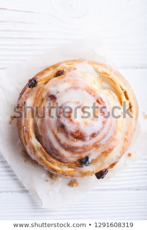 The fresh bun isolated on wooden plate Stock photo © ozaiachin