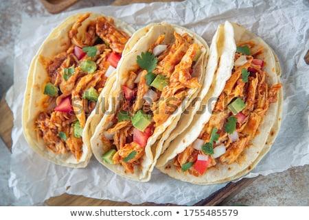 Frango tacos comida queijo jantar Foto stock © grafvision