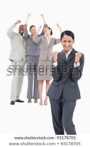 Jubel Verkäuferin Kollege hinter weiß Mann Stock foto © wavebreak_media