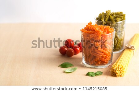 some raw fusilli with tomato and basil Stock photo © Rob_Stark