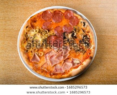 Foto stock: Casero · pizza · mesa · de · madera · cocina · alimentos · queso