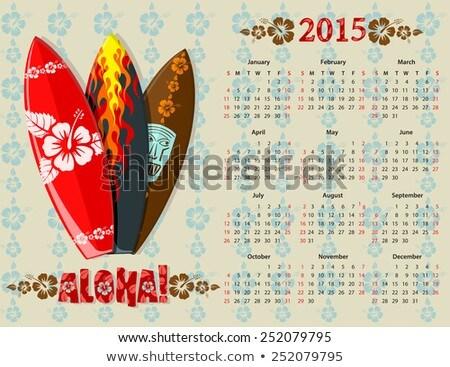 Vector Blue Aloha Calendar 2015 With Surf Boards Photo stock © Elisanth
