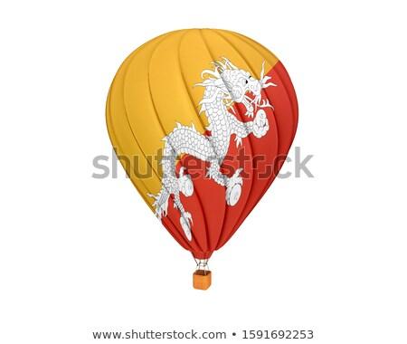 Vliegen ballonnen vlag Bhutan geïsoleerd witte Stockfoto © MikhailMishchenko