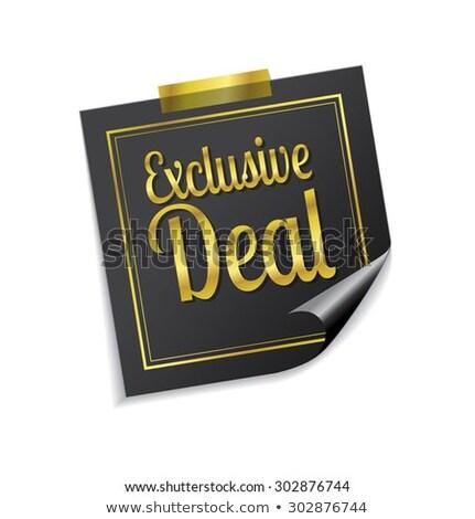 Exkluzív üzlet arany cetlik vektor ikon Stock fotó © rizwanali3d