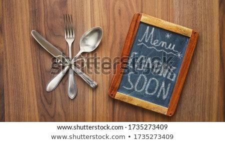 в · ближайшее · время · деревянный · стол · слово · служба · школы · стекла - Сток-фото © fuzzbones0