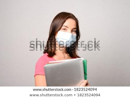 portret · jonge · vrouw · masker · venetiaans · masker · geïsoleerd · witte - stockfoto © RazvanPhotography