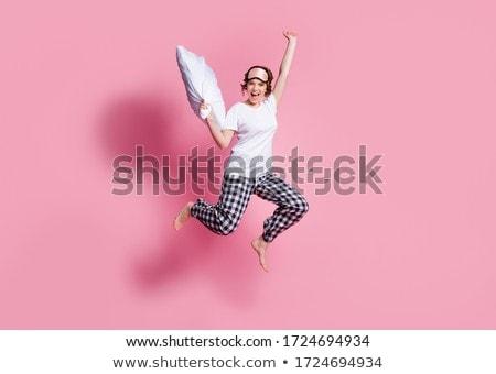 Bett · Party · glücklich · Frauen · home · Gesicht - stock foto © racoolstudio