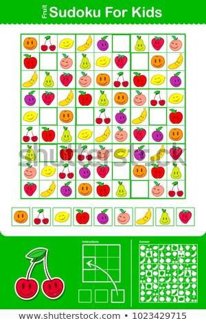 Coloré enfants puzzle grille neuf fruits Photo stock © adrian_n
