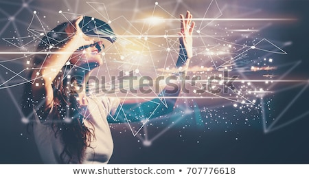 Vrouw virtueel realiteit bril witte technologie Stockfoto © wavebreak_media