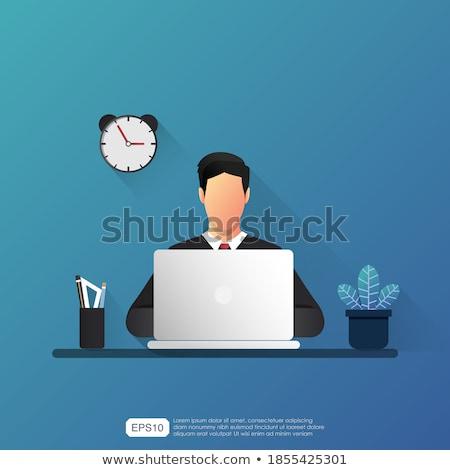 zakenman · senior · grijs · haar · werken · laptop · laptop · computer - stockfoto © minervastock