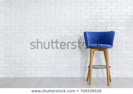 Blauw houten kruk muur vintage stijl Stockfoto © THP