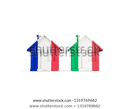 два домах флагами Франция Италия изолированный Сток-фото © MikhailMishchenko