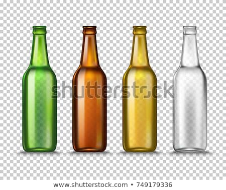 Realistic Brown Bottle And Glass Of Lager Vector Stok fotoğraf © pikepicture