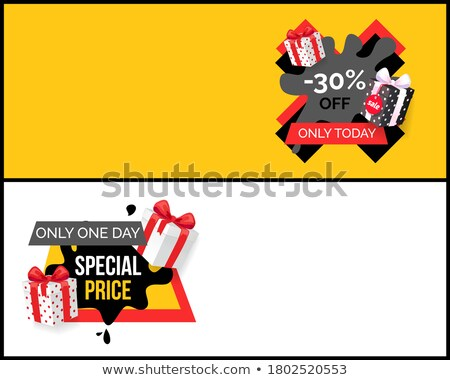 Special Price Promo Tag with Presents, Black Spots Stock photo © robuart