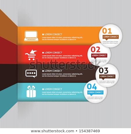 Négy lépcső infografika bemutató sötét sablon Stock fotó © SArts