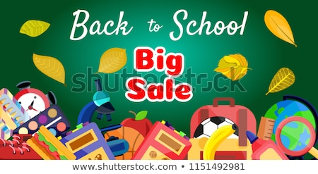 welcome back to school horizontal banner first day of school pencils and supplies on yellow backgr stock photo © ikopylov