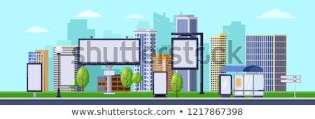 Wolkenkrabbers billboard reclame promotie stadsgezicht lang Stockfoto © robuart