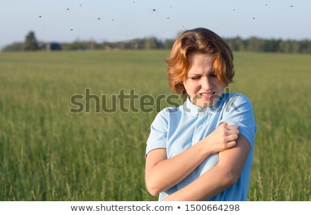 Mosquitoes around a woman on the nature on the field Stock photo © galitskaya