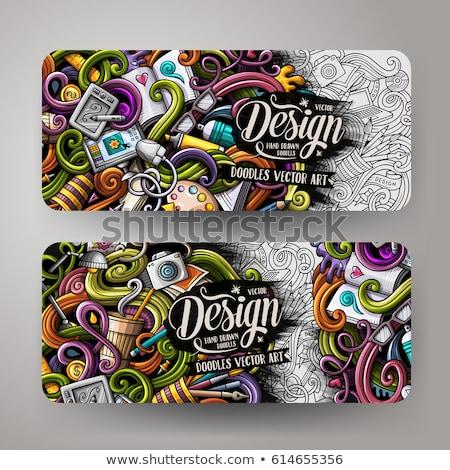 Designer hand drawn doodle banner. Cartoon detailed flyer. Stock photo © balabolka