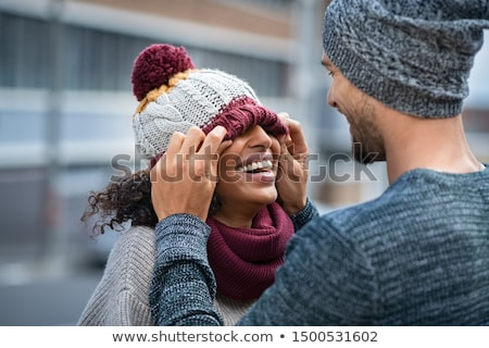 City Street with Men and Women in Winter Clothes Stock photo © robuart