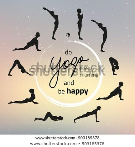 Fitnessz jóga nő nyújtás gyakorol reggel Stock fotó © Maridav