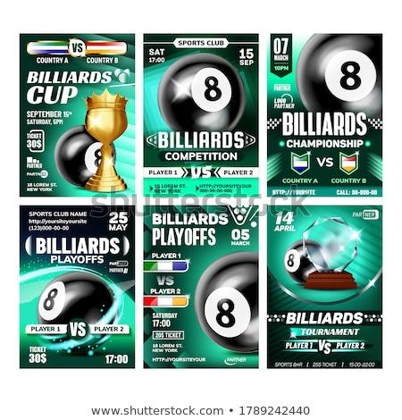 бильярдных рекламный листовка плакатов набор вектора Сток-фото © pikepicture
