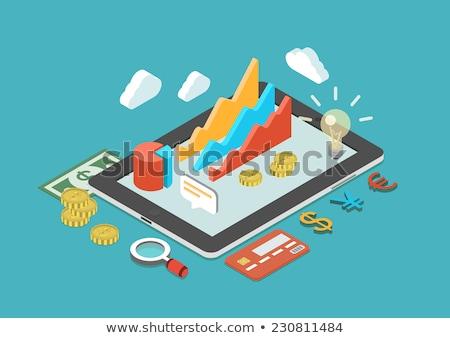 Pénz bankjegy izometrikus ikon vektor felirat Stock fotó © pikepicture