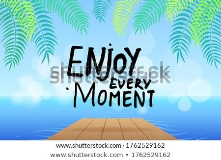 楽しむ 瞬間 スローガン 海 木製 橋 ストックフォト © robuart