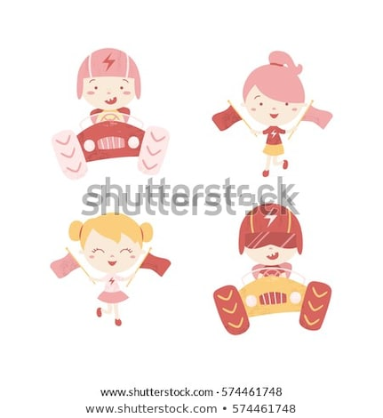 Cartoon Girl Racer and Go-Kart Stock photo © Voysla