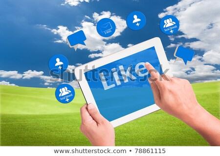 Hand Holding Like Cloud On Tablet Pc Computer Stok fotoğraf © SuriyaPhoto