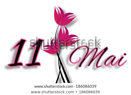 Mothers Day On May 11th Date With Letters With Pink Flowers Stok fotoğraf © impresja26