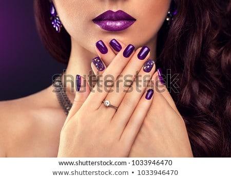 nő · lila · koktél · gyűrű · menyasszony · esküvő - stock fotó © dolgachov