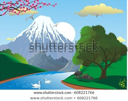 Vector landscape with mountains and swans on the lake  Stock photo © JackyBrown