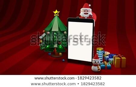 Stock photo: red santa holding golden stars