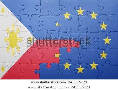 Európai szövetség Fülöp-szigetek zászlók puzzle izolált Stock fotó © Istanbul2009