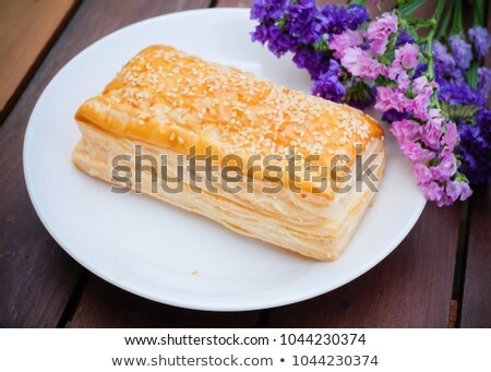 Plateful of crispy pastries with cheese and fruit Stock photo © ozgur