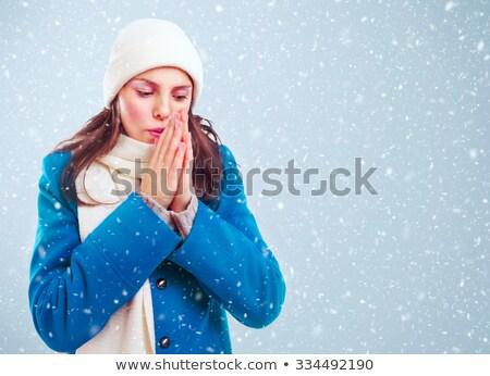 Fagyott lány kezek tél kék kabát Stock fotó © LoopAll