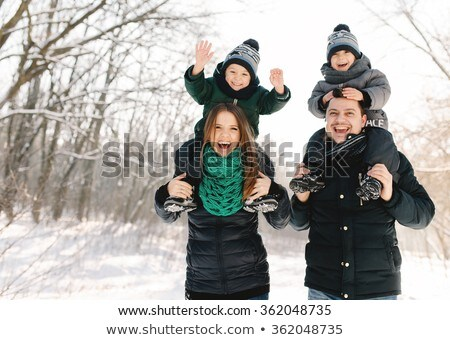 young happy pregnant family have fun stock photo © dariazu